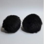 Помпоны парные (кролик) Черные 5-6см